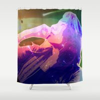 cosmic Shower Curtains featuring Cosmic by Monica Selva
