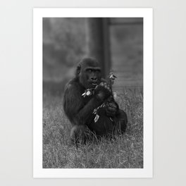 Cheeky Gorilla Lope Mono Art Print