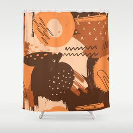 Abstract Hand Drawn Botanical Collection, No 01 Shower Curtain