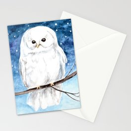 White Barn Owl Art, Winter art, Night Sky Stationery Cards