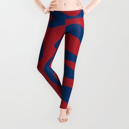 Red and blue cow print Leggings