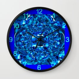 Dreaming  in Blue-Teal Sapphire Gems Abstract Art Wall Clock