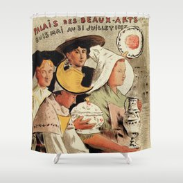 French belle epoque pottery expo advertising Shower Curtain
