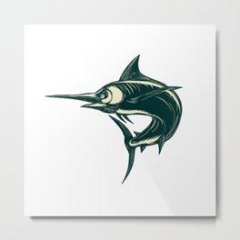 Blue Marlin Jump Scratchboard Metal Print