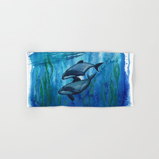 """""""Maui's Magic"""" by Amber Marine ~ (Maui's Dolphins) Watercolor Painting, (c) 2016 Hand & Bath Towel"""