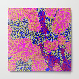 Night In the Jungle Garden, Pink Metal Print
