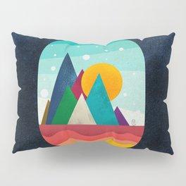 056 little owl travels the colored sunny landscape Pillow Sham