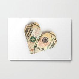 ten-dollar bill folded in the shape of a heart Metal Print