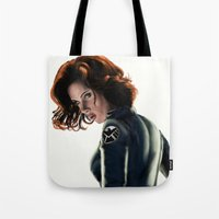 black widow Tote Bags featuring Black Widow by Christine Tromop