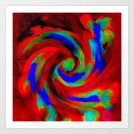 Red Blue Green Fireball Sky Explosion Art Print