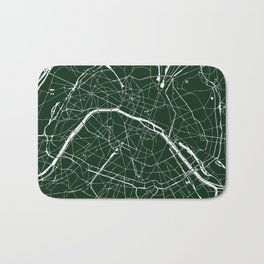 Paris France Minimal Street Map - Forest Green Bath Mat