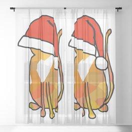 Cute cat in an oversized Santa hat Sheer Curtain