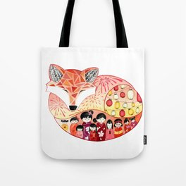 Japanese Summer Fox Tote Bag