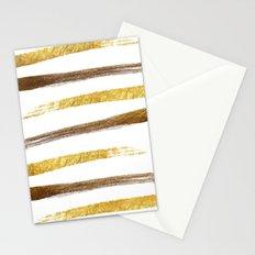 Stylish faux gold foil stripes brushstrokes Stationery Cards