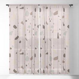 Terrazzo pattern earth pink Sheer Curtain
