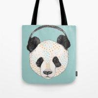 polkadot Tote Bags featuring Polkadot Panda by Sandra Dieckmann
