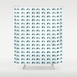 Lambretta GP Blue and White Shower Curtain
