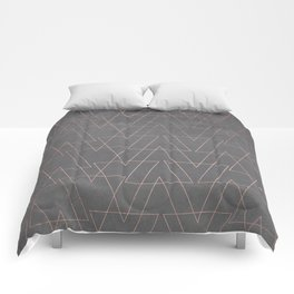 Modern rose gold geometric triangles blush pink abstract pattern on grey cement industrial Comforters