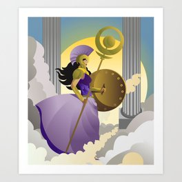 greek roman goddess athena minerva with shield and staff in the sky Art Print