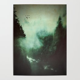 Morning dust on Mountains - Forest Wood Tree Poster