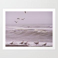 Seagulls and the Big Surf Art Print