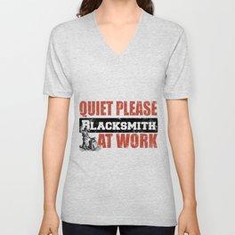 Quiet Please Blacksmith At Work Unisex V-Neck