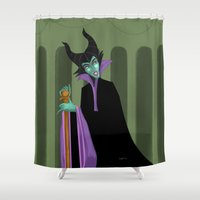 maleficent Shower Curtains featuring Maleficent by DROIDMONKEY