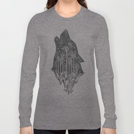Adventure Wolf - Nature Mountains Wolves Howling Design Black on Pale Pink Long Sleeve T-shirt
