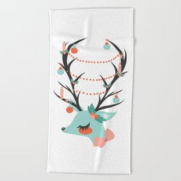 Retro Reindeer Beach Towel