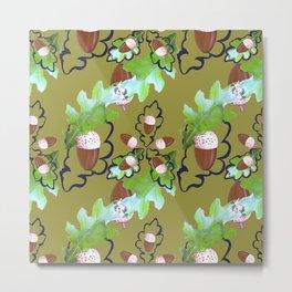 Acorns and oak leaves. Metal Print