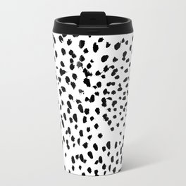 Nadia - Black and White, Animal Print, Dalmatian Spot, Spots, Dots, BW Travel Mug