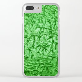 Green Waves and Ripples Textured Wavelet Paint Art Clear iPhone Case