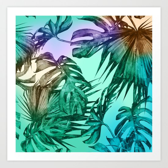 Simply Palm Leaves in Hologram Island Green Art Print