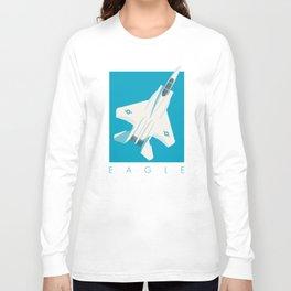 F15 Eagle Supersonic Jet Aircraft - Cyan Long Sleeve T-shirt