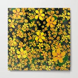 Orange & Yellow Flowers on Black Background Metal Print