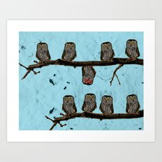 Perched Owls Print Art Print