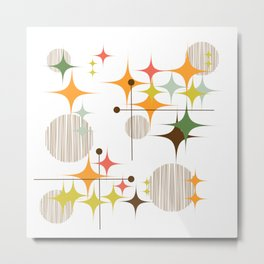 Mid Century Modern Starbursts and Globes 3 Metal Print