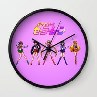 guardians Wall Clocks featuring Pixel Guardians by mirodeniro