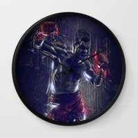 boxing Wall Clocks featuring DARK BOXING by Ptitecao