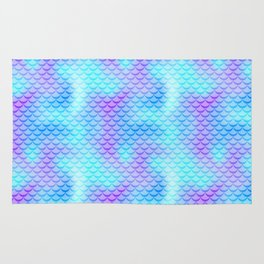 Mint Blue Mermaid Tail Abstraction. Cool Fish Scale Pattern Rug