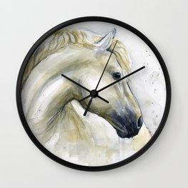 White Horse Watercolor Painting Animal Horses Wall Clock