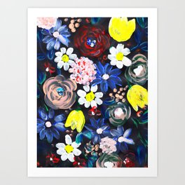 Acrylic flowers with black background Art Print