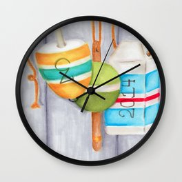 Lobster Buoy Trio Wall Clock