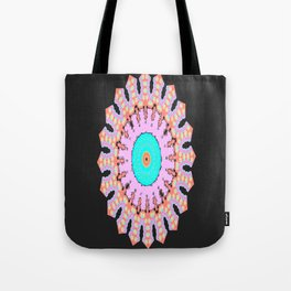 Lovely Healing Mandala  in Brilliant Colors: Black, Electric Blue, Pink, Apricot, and Yellow Tote Bag