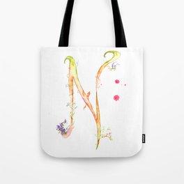 Letter N watercolor - Watercolor Monogram - Watercolor typography - Floral lettering Tote Bag