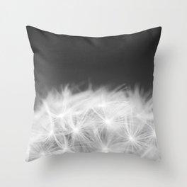 Dandelion Blowball Closeup Black and White #decor #society6 #buyart Throw Pillow