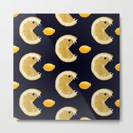 Funny Lemon Eats Lemon Pattern Metal Print