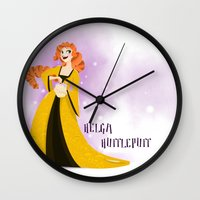 hufflepuff Wall Clocks featuring Helga Hufflepuff by Hailey Del Rio