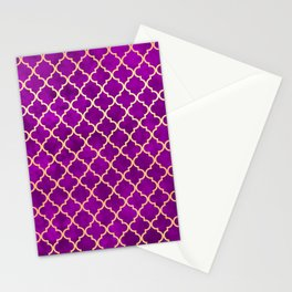 Purple and Gold Quatrefoil Art Deco Pattern Stationery Cards