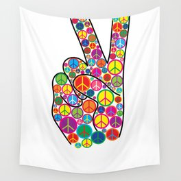Cool Colorful Groovy Peace Sign and Symbols Wall Tapestry